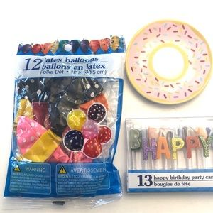 Birthday candles, balloons, & donut plate new